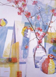Japonica and Blue Vase