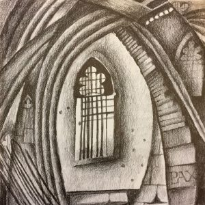 Church Window, drawing, Harriet Brigdale