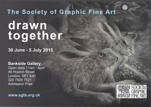 'Drawn Together' invitation with mezzotint by Clive Riggs SGFA