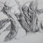 "Clive Riggs SGFA ""Sketchbook Tree"" Dot Pen on Paper."