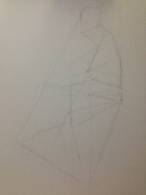 "Robert Gutteridge, progress drawing from life model, graphite pencil (pencil grades H - 8B) on Strathmore Vellum Bristol 500 paper, 24"" x 19"""