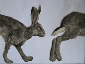 "Clive Riggs SGFA, trial collage for ""Trotting Hare"""