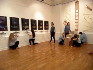"""Interactive performance at """"Liminal Spaces"""" choreographed by Gerry Turvey and Cat John and their dancers at the finissage on Saturday 15th October 2016"""