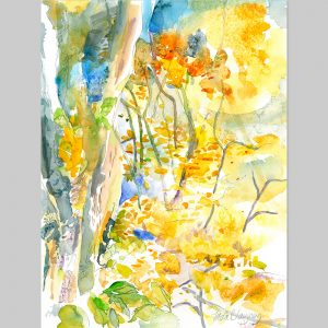Freda Blayney, Orange Pink Harvest Moon and Trees