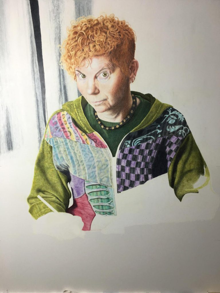'Self-Portrait' in progress, by Jo Baber