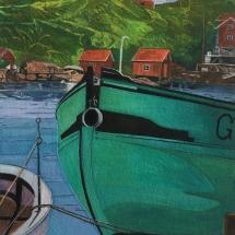 Andrew Sue, Swedish Harbour Scene, Gouache