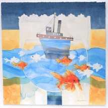 """Jackie Devereux PPSGFA HonSGFA """"Fish out of water"""" Watercolour 42cm/sq"""
