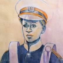 Hicks, Elizabeth, Head of young band boy, Pen & ink & watercolour