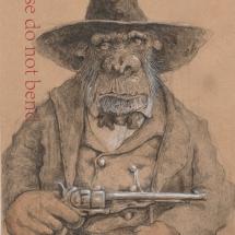 Wells-Kevin-ChimpEastwood-PencilInkandWatercolourOnEnvelope