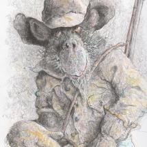 Wells-Kevin-ChimpEastwoodRidesAgain-PencilColuredPencilandInkOnPaper