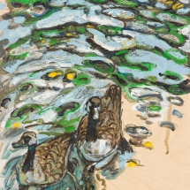 White-Alice-Geese and-Leaves on the Glassy River Lea Oil-Paint, Oil-Pastel, Graphite on Wooden Board