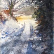 Wilcocks Marion Snowy Lane watercolour